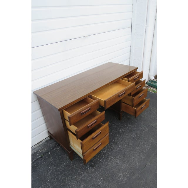 Mid Century Modern Large Writing Office Desk For Sale - Image 11 of 13