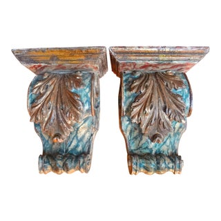 19th Century Pair of French Painted Brackets For Sale