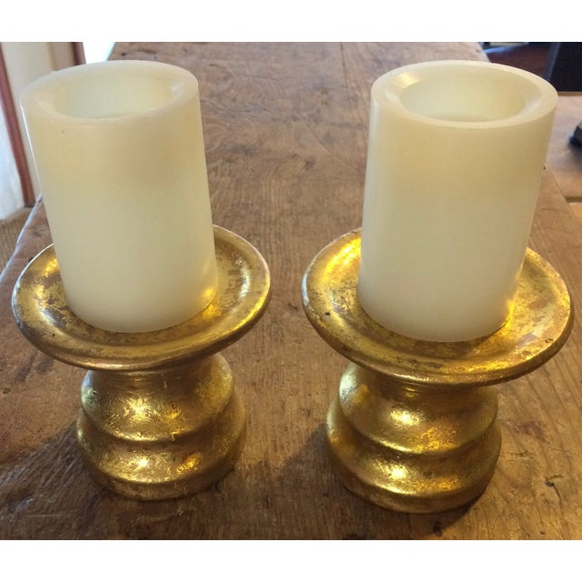 Gold Leaf Ceramic Candle Holders -Pair - Image 3 of 7