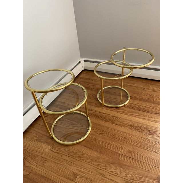 Hollywood Regency Brass and Glass Cocktail Tables - a Pair For Sale In Richmond - Image 6 of 13