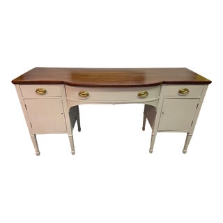 19th Century Large Sideboard Buffet Painted Gray Bottom Stained Dark Wood Top For Sale