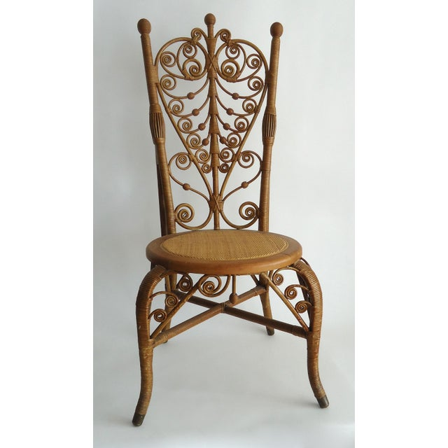 Late 19th Century Vintage Heywood Wakefield Victorian Wicker Photographer's Chair For Sale - Image 12 of 12