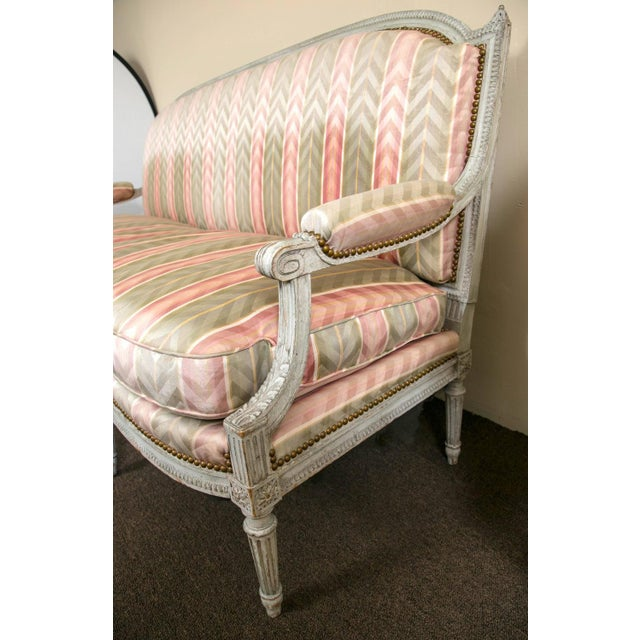Distressed Paint Louis XVI Style Settee by Jansen - Image 6 of 10