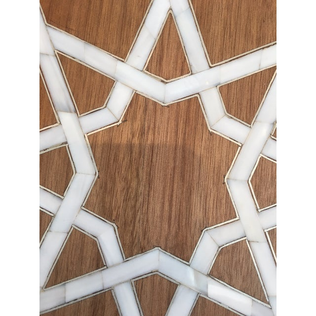 Modern Islamic Style Mother of Pearl Inlay Side Table For Sale - Image 4 of 7