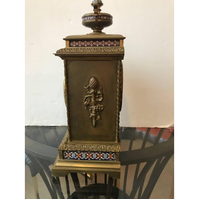 Late 19th Century 19th Century Antique French Champlevé Mantle Clock For Sale - Image 5 of 10