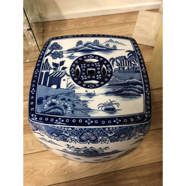 1980s 1980s Chinoiserie Blue & White Pagoda Garden Stool For Sale - Image 5 of 9