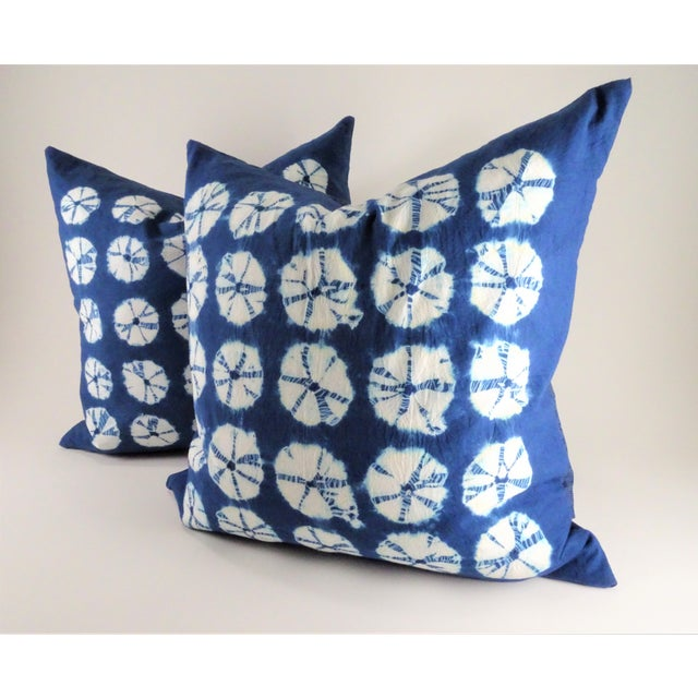 2010s Asian Style Indigo Tie Die Hand Made Pillows - a Pair For Sale - Image 5 of 10