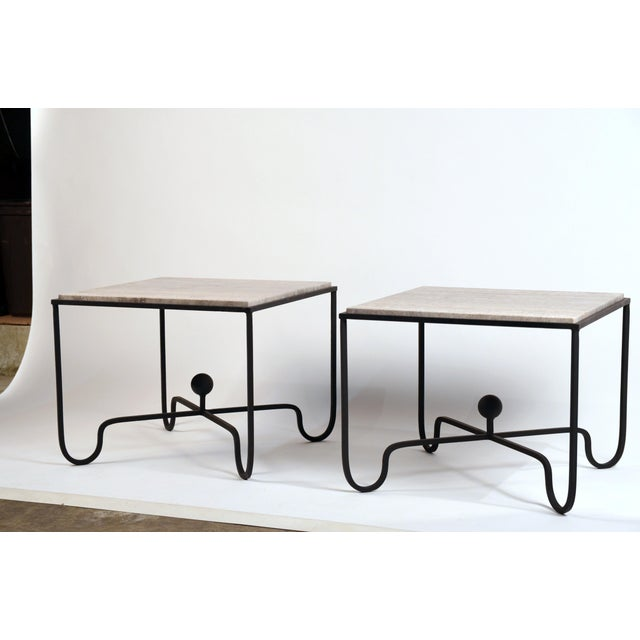 Large 'Entretoise' Silver Travertine Side Tables by Design Frères - a Pair For Sale - Image 9 of 9