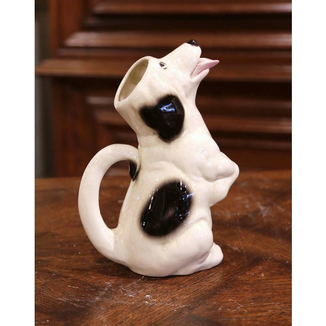 19th Century French Painted Barbotine Ceramic Dog Pitcher From Sarreguemines For Sale In Dallas - Image 6 of 9