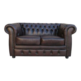 English Chesterfield Sofa Loveseat