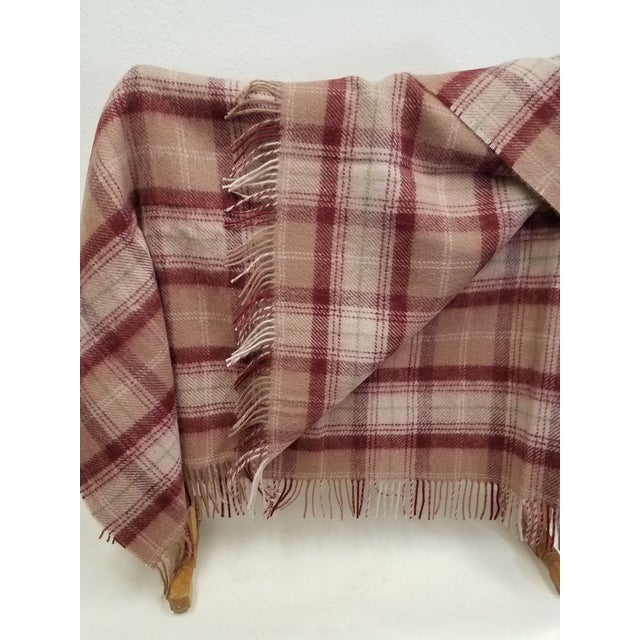 2020s Wool Throw Green, Red, Brown and White in a Plaid Design - Made in England For Sale - Image 5 of 11