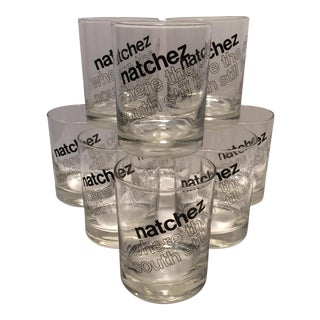 """""""Natchez Where the Old South Still Lives"""" Glasses - Set of 9 For Sale"""