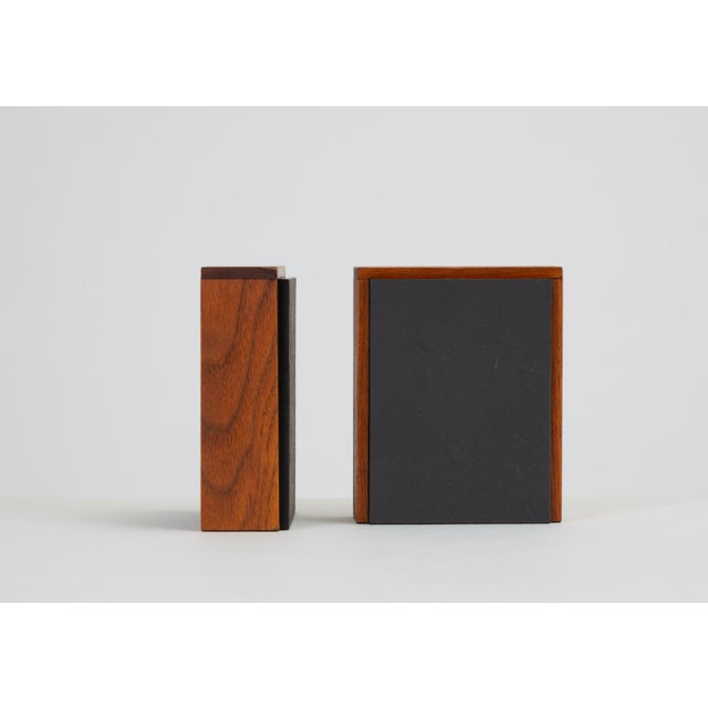 Wood Pair of Scandinavian Modern Slate and Teak Bookends For Sale - Image 7 of 11