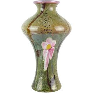 Murano Pink Opal Chalcedony Flower Italian Art Glass Vase For Sale