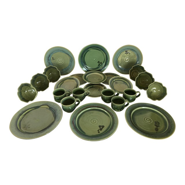 Gabriel Kline Pisgah Green Hand Crafted Pottery - Set of 24 For Sale