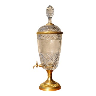 Baccarat French Cut Crystal and Gilt Bronze Wine Dispenser For Sale