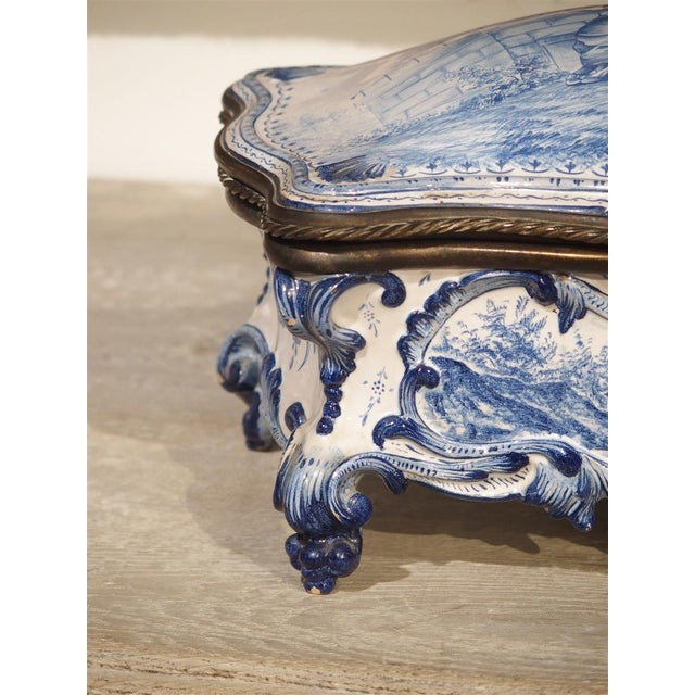 Antique Blue and White Delft Table Box, Late 19th Century For Sale - Image 4 of 13