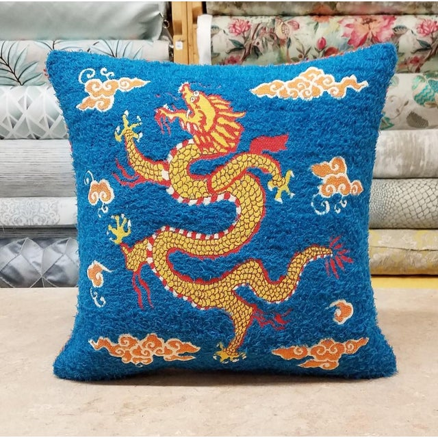 Asian Style Sea Dragon Pillow For Sale - Image 4 of 4