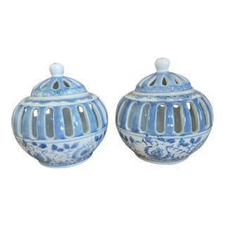Vintage Blue and White Chinoiserie Reticulated Tea Light Candle Holders- a Pair For Sale