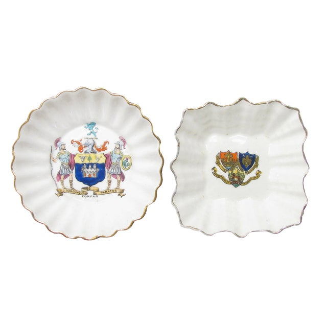 English Vintage Heraldry Dishes, S/2 For Sale
