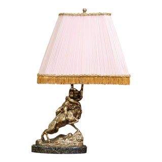 19th Century French Bronze Dore Young Bacchus and Ram Table Lamp on Marble Base For Sale