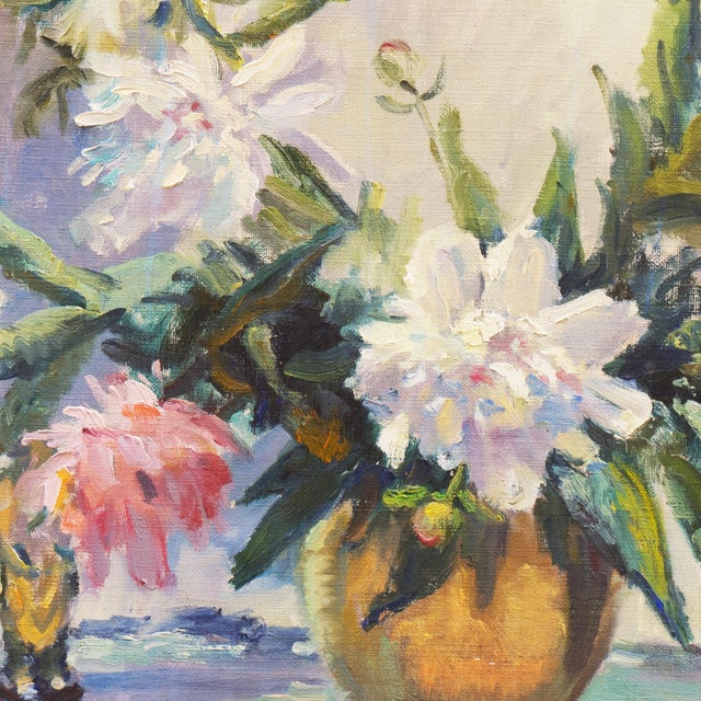 Cream 'Pink and White Dog Roses' by Dorothy Frants, 1960; Oil Still Life, Chicago Woman Artist For Sale - Image 8 of 8
