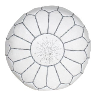Modern Moroccan White and Gray Pouf For Sale