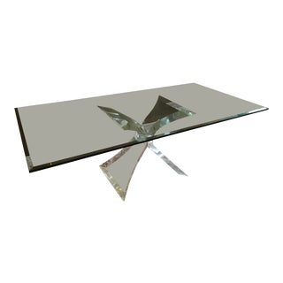 Mid Century Modern Beveled Glass Dining Table With Lucite Butterfly Base