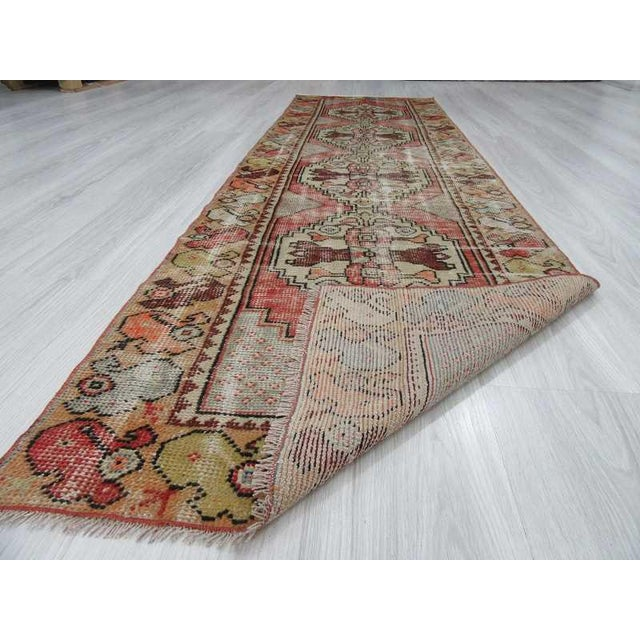 "Vintage Turkish Distressed Runner Rug - 2'5"" x 8'8"" - Image 6 of 6"