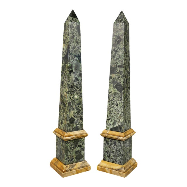 Large Italian Grand Tour Verde Antico and Siena Marble Obelisks - a Pair For Sale