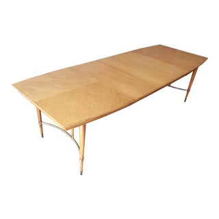 Mid-Century Modern Boat Shaped Walnut Extension Dining Table