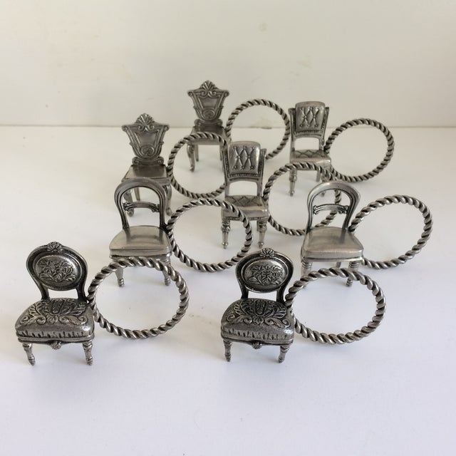 8 Vintage Pewter Victorian Chair Napkin Rings For Sale - Image 12 of 12