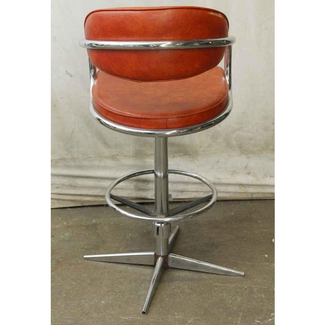 Awesome Chromcraft Mid Century Orange Vinyl Swivel Chair Cjindustries Chair Design For Home Cjindustriesco