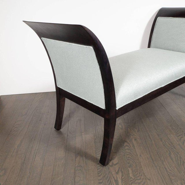 Midcentury Streamlined Bench in Ebonized Walnut and Powder Blue Woven Fabric For Sale - Image 4 of 8