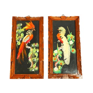 1960s Vintage Handmade and Framed Mexican Feather Art Paintings - A Pair For Sale