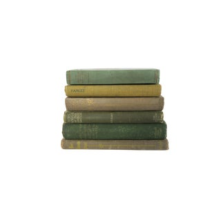 Antique Green Hardcover Book Collection Set of 6