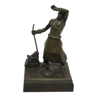 Heroic Smelter Worker 20th Century Bronze Sculpture Desk Set Signed by Heinrich Krippel, 1883-1945 For Sale