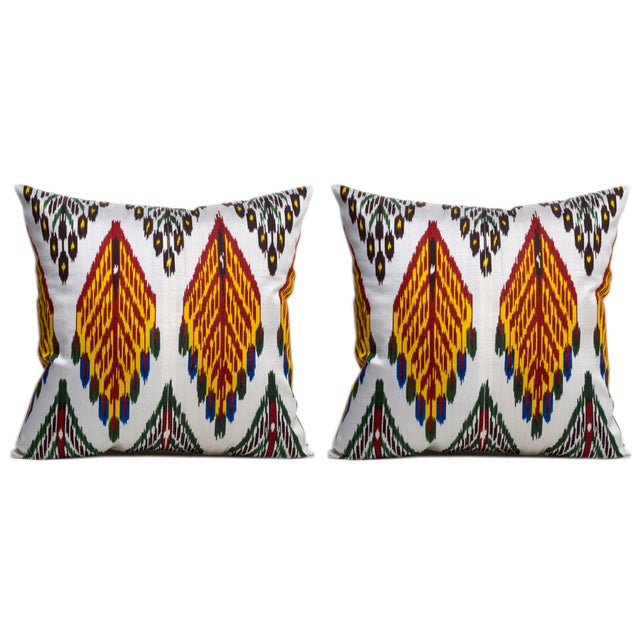 Vintage Silk Warp Cotton Weft Ikat Pillows - Pair For Sale - Image 4 of 4
