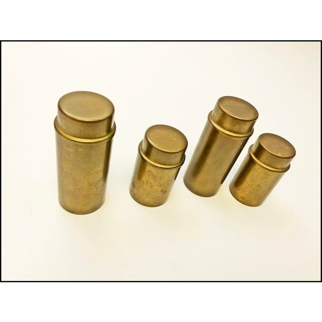 "Vintage Brass Oil Lamps. Set of 4. Amazing Danish Modern design. Each marked ""B.C.A. Made in Denmark"". Excellent..."
