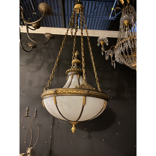 American 1900 Caldwell Leaded Glass Light Fixture For Sale - Image 3 of 5