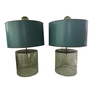 Green Blown Glass Lamps & Turquoise Metal Shades - A Pair
