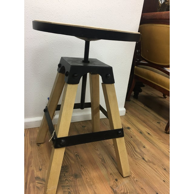 Yellow Noir Solid Wood & Black Steel Swivel Stool For Sale - Image 8 of 13