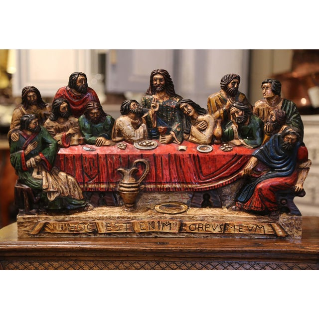 """Religious Mid-20th Century Spanish Carved Polychromed and Gilt """"Last Supper"""" Sculpture For Sale - Image 3 of 10"""