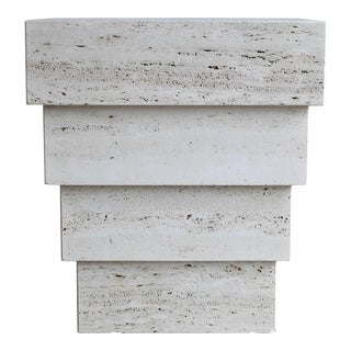 Sculptural Modernist Travertine Pedestal For Sale