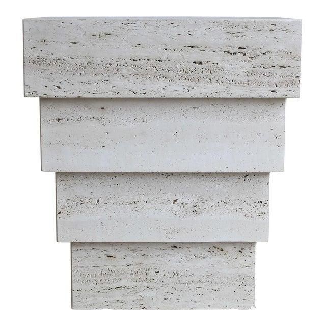 Sculptural Modernist Travertine Pedestal For Sale