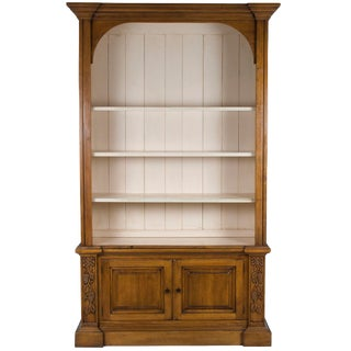 1980s Rustic Distressed Tall Pine Open Bookcase Bookshelf For Sale