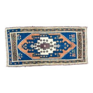 Vintage Traditional Turkish Anatolian Blue and Orange Small Rug For Sale