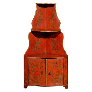 18th Century Louis XV Chinoiserie Red Wooden Corner Cabinet