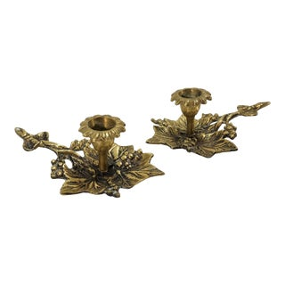 Vintage Solid Brass Leaf & Berry Candleholders Chamberstick Style - a Pair For Sale