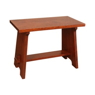 "Stickley Mission Collection Oak ""Gustav Stickley Fireside Stool"" For Sale"